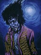 Blue Jimi Print by Gary Kroman