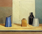 Wooden Cabin Paintings - Blue Jug Alone by William Packer