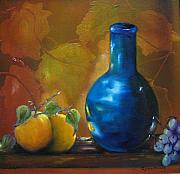 Peaches Painting Prints - Blue Jug on the Shelf Print by Carol Sweetwood