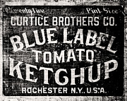 Country Kitchen Posters - Blue Label Ketchup in BW Poster by Lisa Russo
