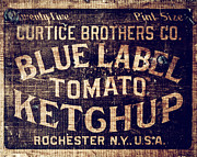 Kitchen Decor Prints - Blue Label Tomato Ketchup Print by Lisa Russo