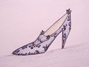 Miniatures Art - Blue Lacey Shoe by Christine Corretti
