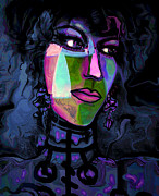 Black Background Mixed Media - Blue Lady by Natalie Holland