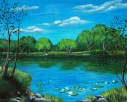 River Scenes Drawings - Blue Lake by Anastasiya Malakhova