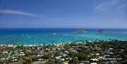 Blue Lanikai Overview Print by Sean Davey