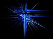 Blue Light Digital Art Prints - Blue Laser Cross  Print by David Dehner