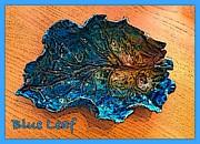 Blue Leaf Ceramic Design 2 Print by Joan-Violet Stretch