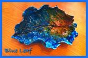 Blue Leaf Ceramic Design 3 Print by Joan-Violet Stretch