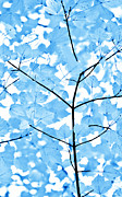 Monochromatic Posters - Blue Leaves Melody Poster by Jennie Marie Schell