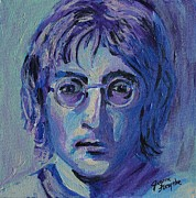 Fab Four Framed Prints - Blue Lennon Framed Print by Jeanne Forsythe