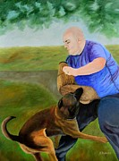 Law Enforcement Paintings - Blue Light Special by Nina Stephens