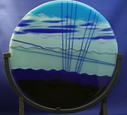 Fused Glass Art - Blue Lights by Gaby Tench