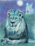 Goddess Durga Painting Posters - Blue Lion Poster by Diana Perfect