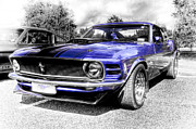 Ford Mustang Framed Prints - Blue Mach 1 Framed Print by motography aka Phil Clark