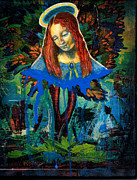 Blue Madonna In Tree Print by Genevieve Esson