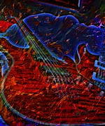 Lebron Metal Prints - Blue Magic Digital Guitar Art by Steven Langston Metal Print by Steven Lebron Langston