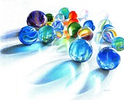 Glass Drawings Originals - Blue Marble Reflections by Carla Kurt
