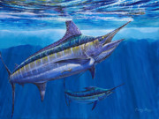 Sportfishing Painting Posters - Blue Marlin Bite Off001 Poster by Carey Chen