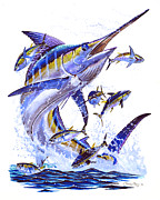Blue Marlin.white Marlin Posters - Blue Marlin Poster by Carey Chen