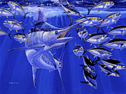 Striped Marlin Paintings - Blue marlin round up Off0031 by Carey Chen