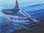 Hatteras Paintings - Blue Marlin strike by Carey Chen