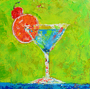 Interior Still Life Painting Metal Prints - Blue Martini - Cherry me up Metal Print by Patricia Awapara