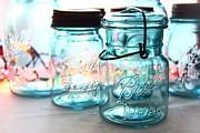 Blue Mason Jars Print by Elizabeth Budd
