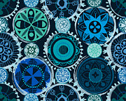 Seafoam Abstract Prints - Blue Medallions  Print by Lisa Noneman