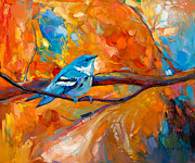 Warbler Paintings - Blue melody by Ivailo Nikolov