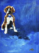 Boxer Painting Prints - Blue Monday Print by Marias Watercolor