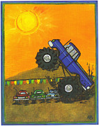 Rally Drawings Posters - Blue Monster Truck Poster by Amanda Baumgartner