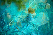Aqua Art Prints - Blue Montage Print by Bonnie Bruno