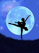 Silhouette Digital Art Prints - Blue Moon Ballerina Print by Alixandra Mullins