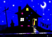 Doghouse Prints - Blue Moon Print by Cristophers Dream Artistry