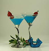 Blue Moon Curacao Cocktails For Two Print by Inspired Nature Photography By Shelley Myke