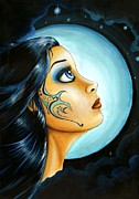 Moon Paintings - Blue Moon goodess by Elaina  Wagner