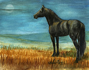 Wild Horses Painting Prints - Blue Moon Print by Linda L Martin