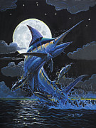Black Marlin Framed Prints - Blue Moon Off0069 Framed Print by Carey Chen