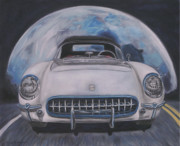 Chevy Pastels Prints - Blue Moon Over Blue Flame Print by Rick Spooner