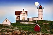 Nubble Lighthouse Posters - Blue Moon Over Nubble Light Poster by Christian Anderson