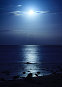Sea Moon Full Moon Framed Prints - Blue Moon Rising Framed Print by Peta Thames