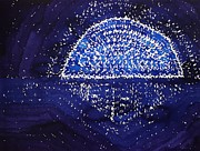Periwinkle Originals - Blue Moonrise original painting by Sol Luckman
