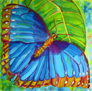 Butterfly Tapestries - Textiles Metal Prints - Blue Morpho Butterfly on Zebra Metal Print by Kelly     ZumBerge