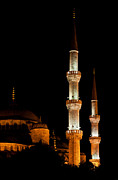 Mosque Photos - Blue Mosque At Night 01 by Rick Piper Photography