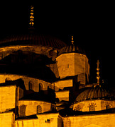 Mosque Photos - Blue Mosque At Night 02 by Rick Piper Photography