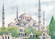 Dome Painting Originals - Blue Mosque by Marsha Elliott