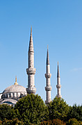 Mosque Photos - Blue Mosque Minarets by Rick Piper Photography