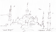 Boat Cruise Drawings Prints - Blue Mosque Print by Valerie Freeman