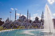 Byzantine Posters - Blue Mosque with fountain 01 Poster by Antony McAulay