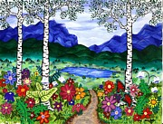 Blue Mountain Valley Print by Carla's  Designs